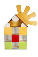 """Стеллаж для игрушек """"Цветочная поляна"""" секция """"Домик"""""""