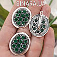 Серебряный комплект: кольцо и серьги с зелеными камнями серебро, фото 2
