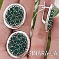 Серебряный комплект: кольцо и серьги с зелеными камнями серебро, фото 5