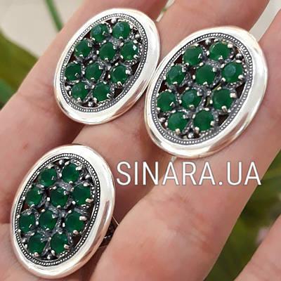 Серебряный комплект: кольцо и серьги с зелеными камнями серебро