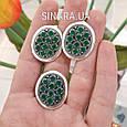Серебряный комплект: кольцо и серьги с зелеными камнями серебро, фото 3
