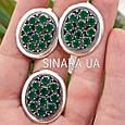 Серебряный комплект: кольцо и серьги с зелеными камнями серебро, фото 4
