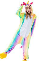 Кигуруми единорог радужный разноцветный рост 145-155 S kigurumi костюм