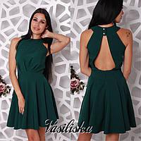 Платье модное с открытой спиной мини костюмка разные цвета SMV2161