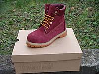 Ботинки Timberland bordo ,в наличии, с нат. мехом,р.36-40