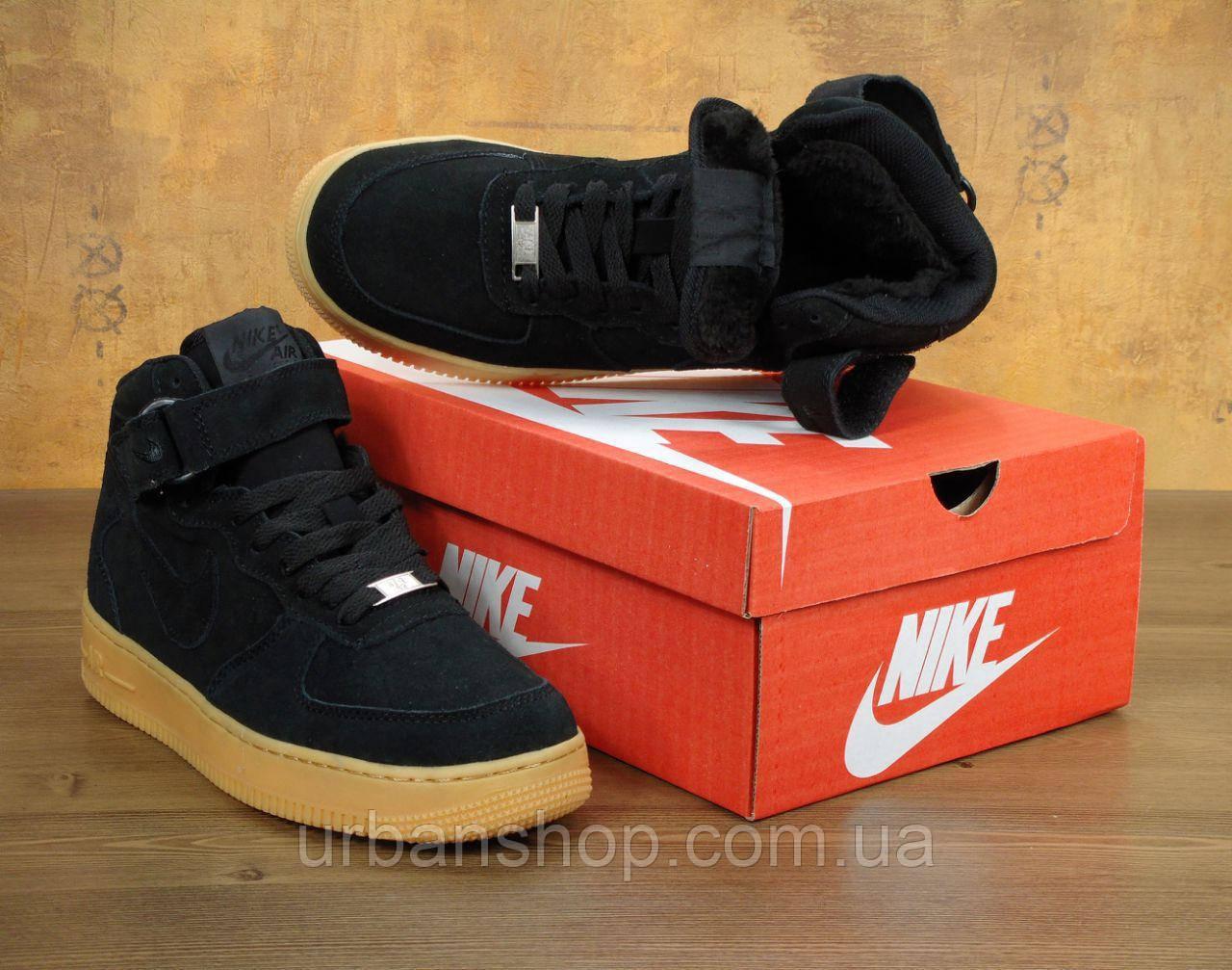 Зимние кроссовки Nike Air Force Black Suede Hi 40-45 рр
