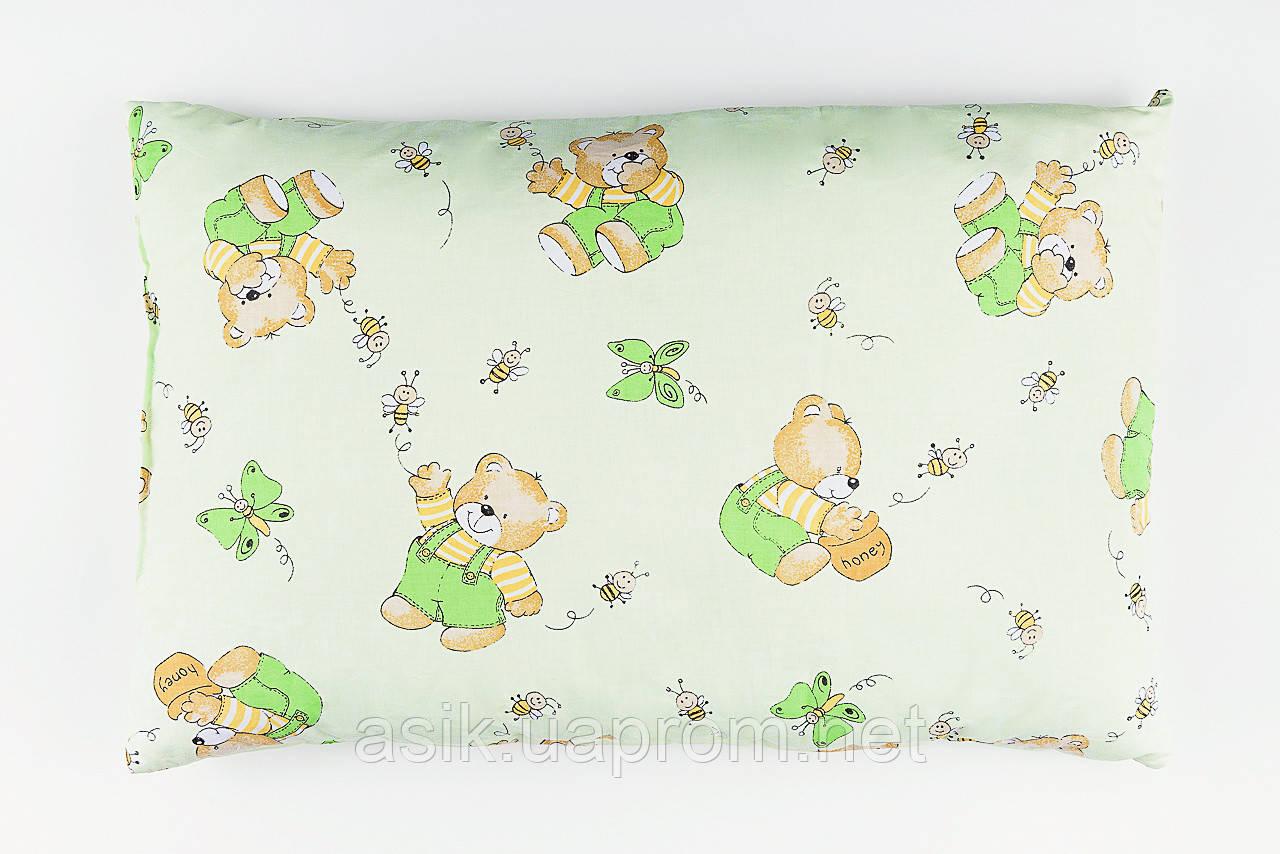 """Детская подушка 60*40 для новорожденных """"Мишки с мёдом"""", цвет салатовый"""