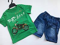 Футболка с джинсовыми шортами на мальчика мотоцикл 1 год, фото 1