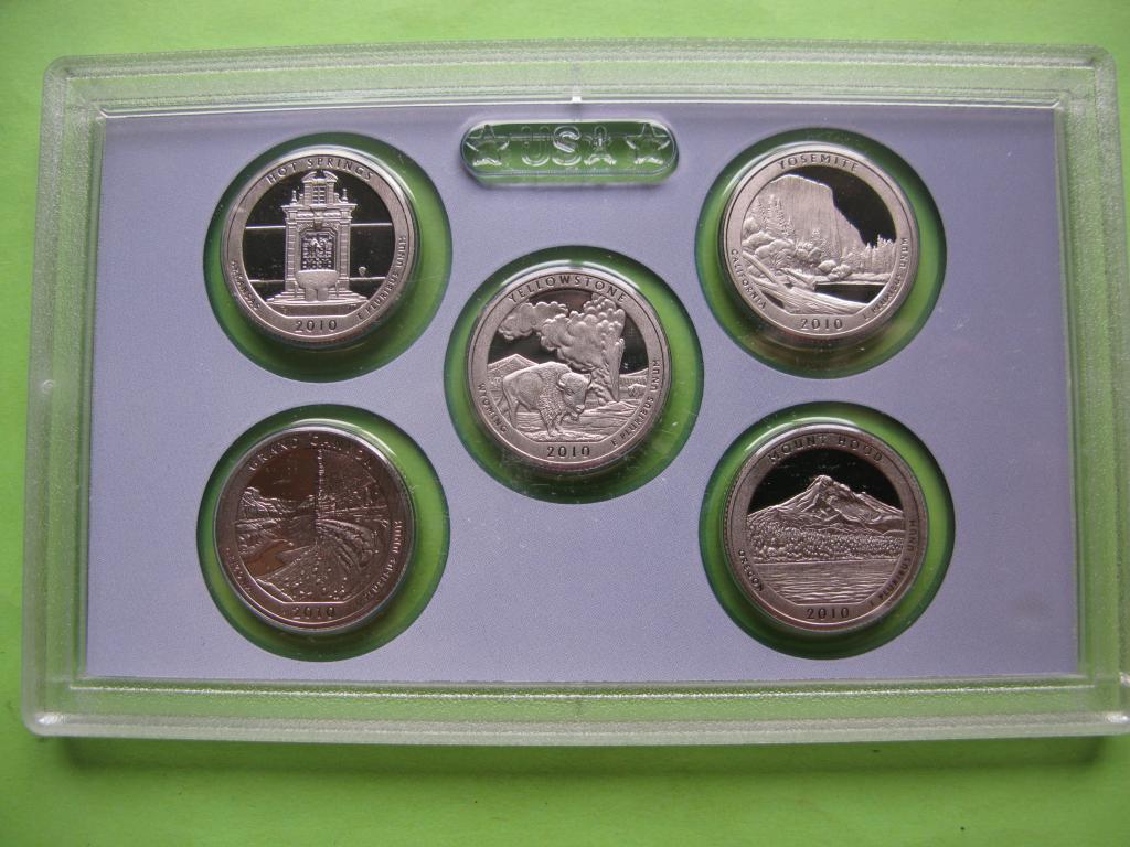 """США 25 центов набор 2010 г. """"Национальные парки"""", пруф"""