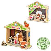 Деревянная игрушка Игра-логика GT 5948 (12шт) Маша и Медведь, фигурки, в кульке, 18-21-5см