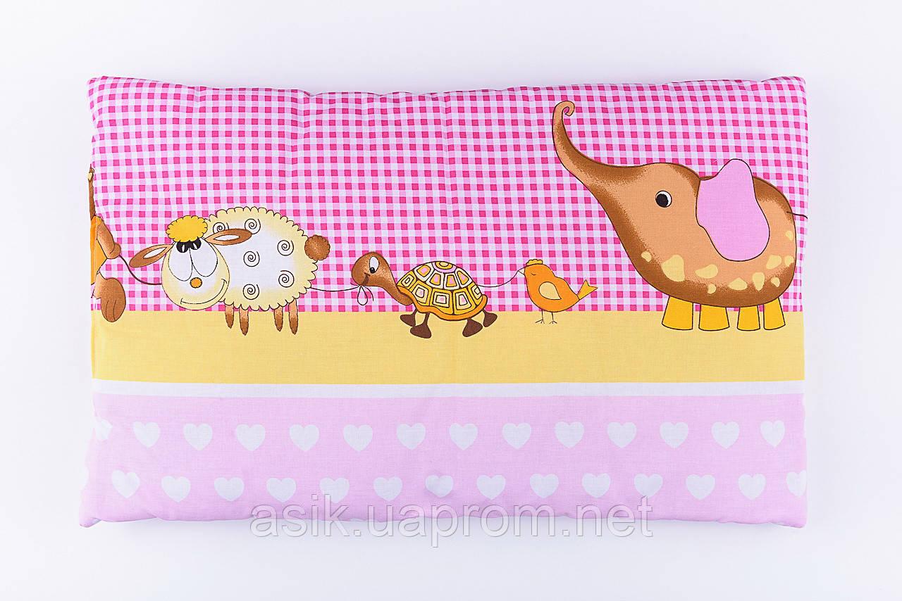 """Детская подушка 60*40 для новорожденных """"Слоник и черепаха"""", цвет розовый"""