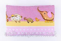 """Дитяча подушка 60*40 для новонароджених """"Слоник і черепаха"""", колір рожевий"""