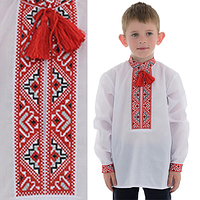 Детская сорочка для мальчика с красной вышивкой