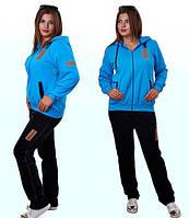 Теплый зимний спортивный костюм женский с капюшоном брюки прямые батальный 50