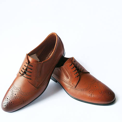 Мужская обувь Икос : кожаные туфли с перфорацией, коричневого цвета