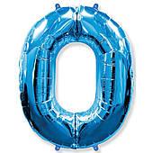 Фольгированные шары цифры - цифра 0 blue 100см FlexMetal