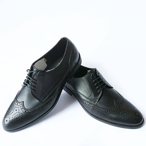 Купить мужские туфли броги от Икос Луцк : черные кожаные туфли с перфорацией