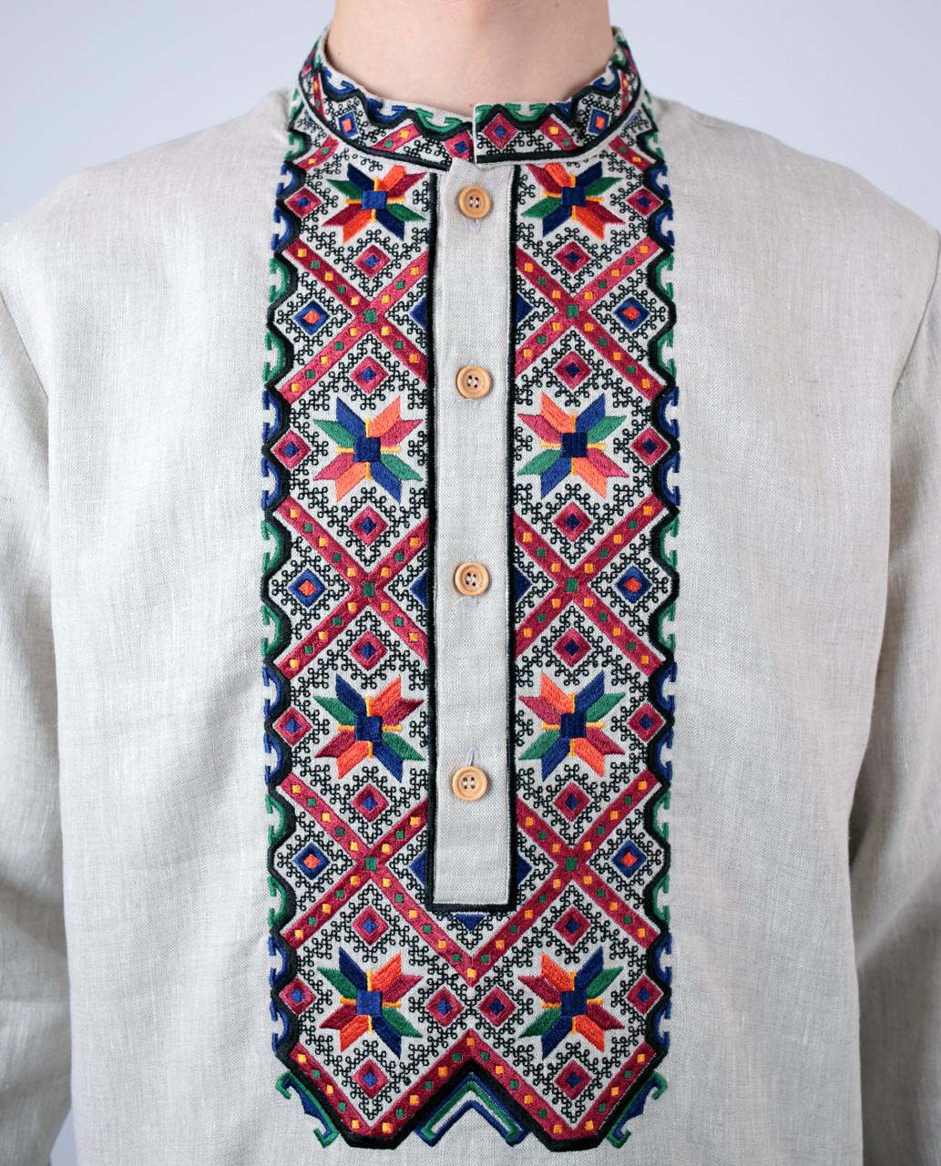 Бежева лляна чоловіча вишиванка на довгий рукав з кольоровим орнаментом ручної  роботи  26059e38d57e6