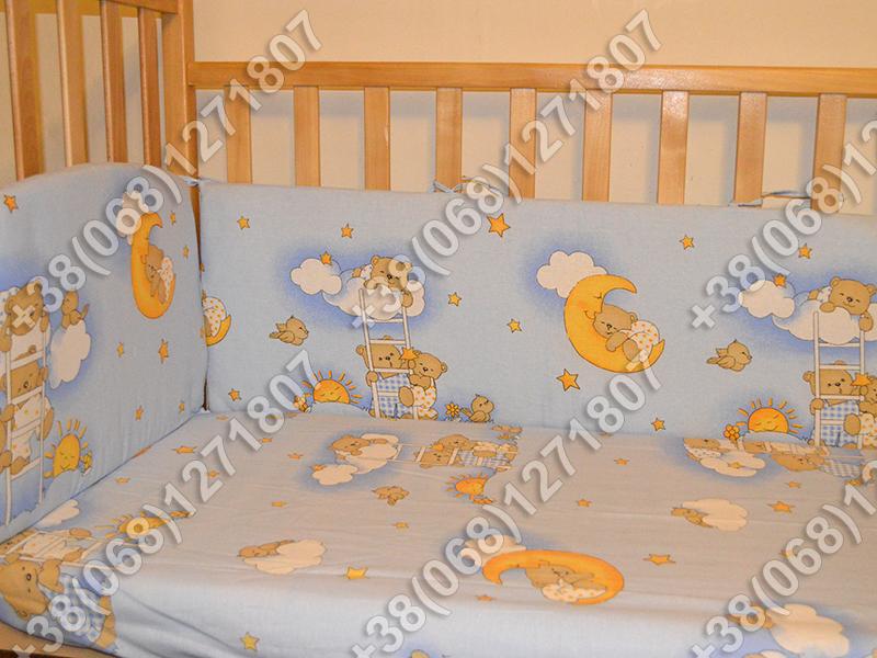 """Детское постельное белье в кроватку """"Карапуз"""" комплект 6 ед. Мишки на лесенке голубой"""
