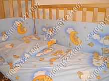 """Детское постельное белье в кроватку """"Карапуз"""" комплект 6 ед. Мишки на лесенке голубой, фото 3"""