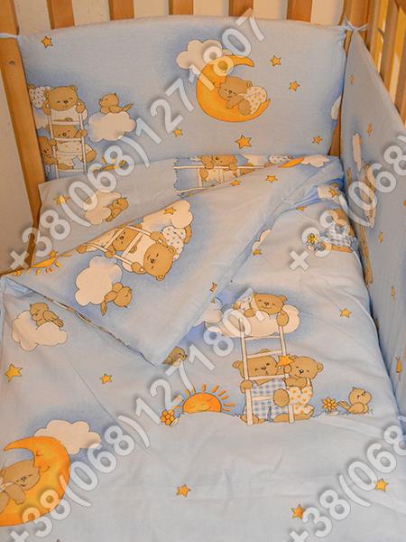 """Детское постельное белье в кроватку """"Карапуз"""" комплект 5 ед. Мишки на лесенке голубой"""