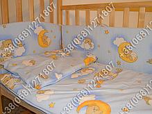 """Детское постельное белье в кроватку """"Карапуз"""" комплект 5 ед. Мишки на лесенке голубой, фото 2"""