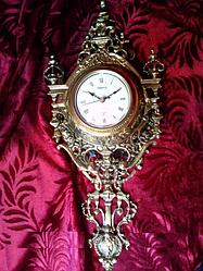Часы настенные бронзовые London (560х220х100 мм) [Бронза, Под стеклом]
