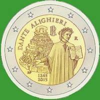 Италия 2 евро 2015 г. 750 лет со дня рождеия Данте Алигьери. UNC