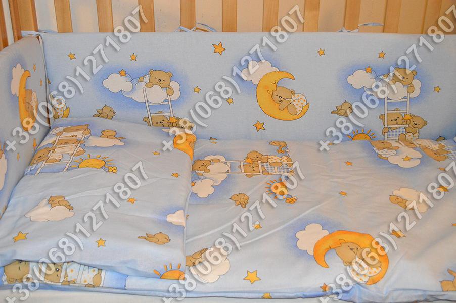 """Детское постельное белье в кроватку """"Карапуз"""" комплект 7 ед. Мишки на лесенке голубой"""