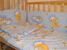 """Детское постельное белье в кроватку """"Карапуз"""" комплект 7 ед. Мишки на лесенке голубой, фото 3"""