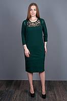 Красивое платье бутылочного цвета 5507 размеры в наличии  52 54 56, фото 1
