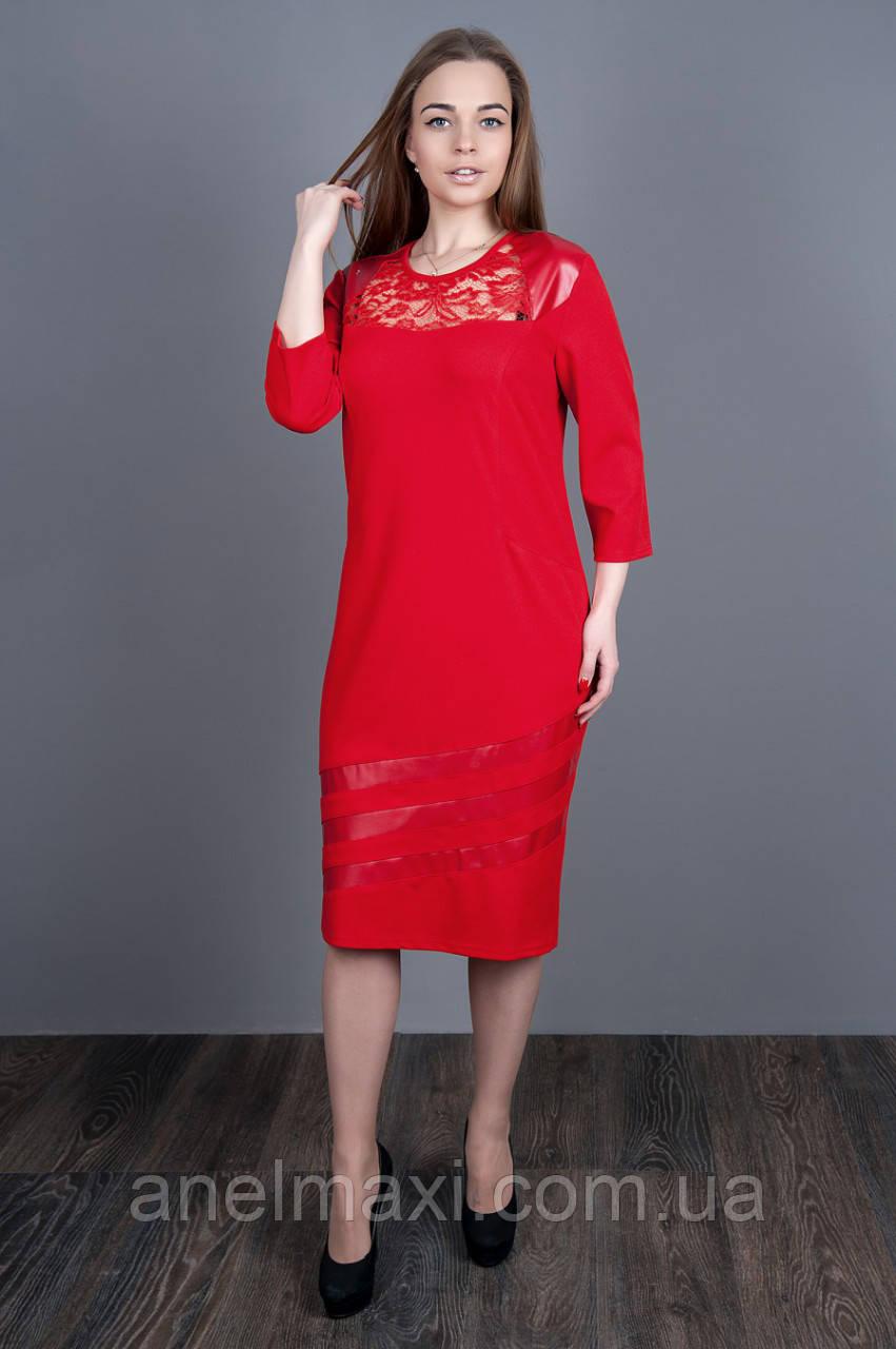 3552dff356a Стильное платье красного цвета со вставками эко-кожи и гипюра 5507 размеры  в наличии 52 54