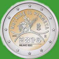 Италия 2 евро 2015 г. EXPO в Милане . UNC