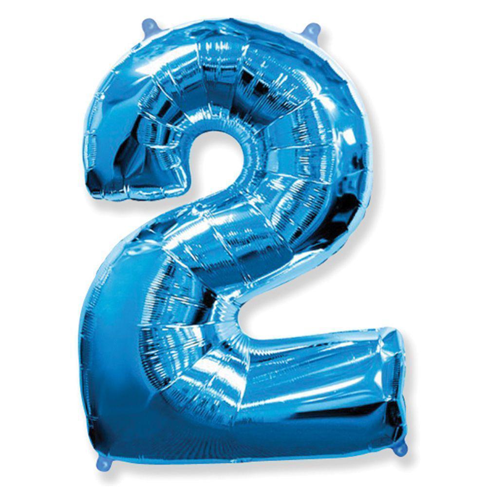 Фольгированные шары цифры - цифра 2 blue 100см FlexMetal