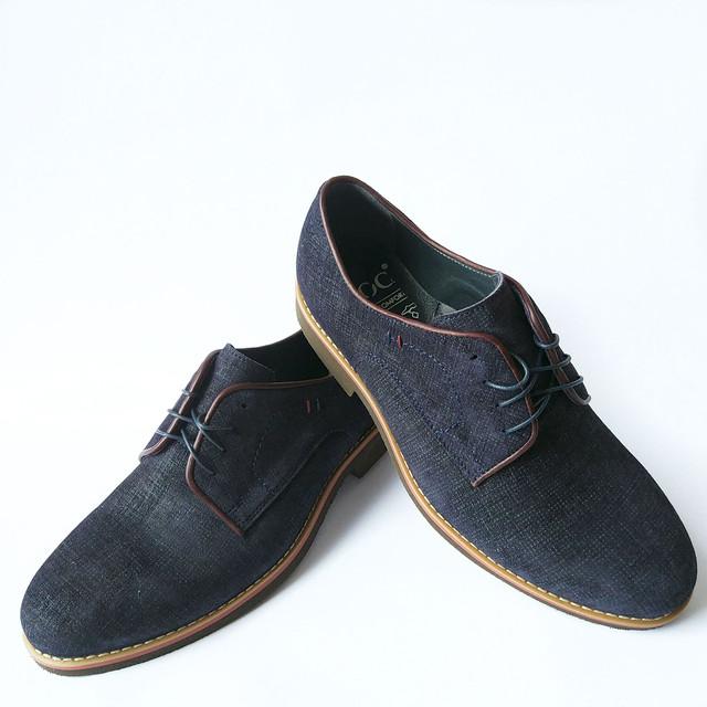 Мужская кожаная обувь икос замшевые туфли синего цвета на шнуровке