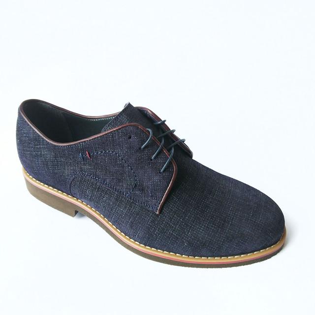 Мужская кожаная обувь икос замшевые туфли на шнуровке синего цвета