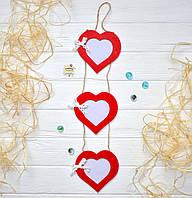 Подвесная гирлянда-фоторамка, цвет красный,  длина 55 см, сердце 12 см
