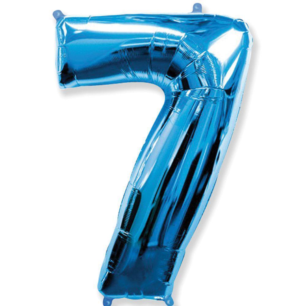 Фольгированные шары цифры - цифра 7 blue 100см FlexMetal
