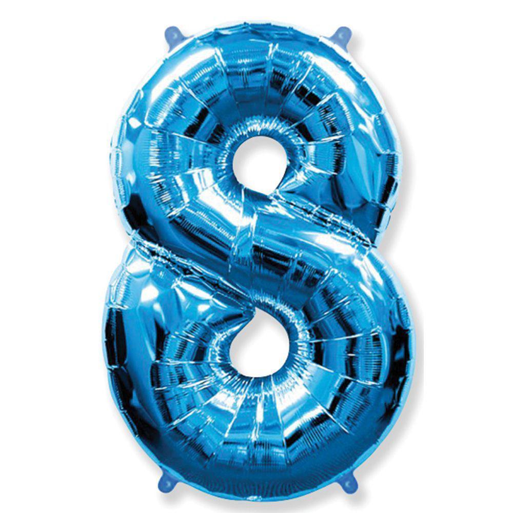 Фольгированные шары цифры - цифра 8 blue 100см FlexMetal