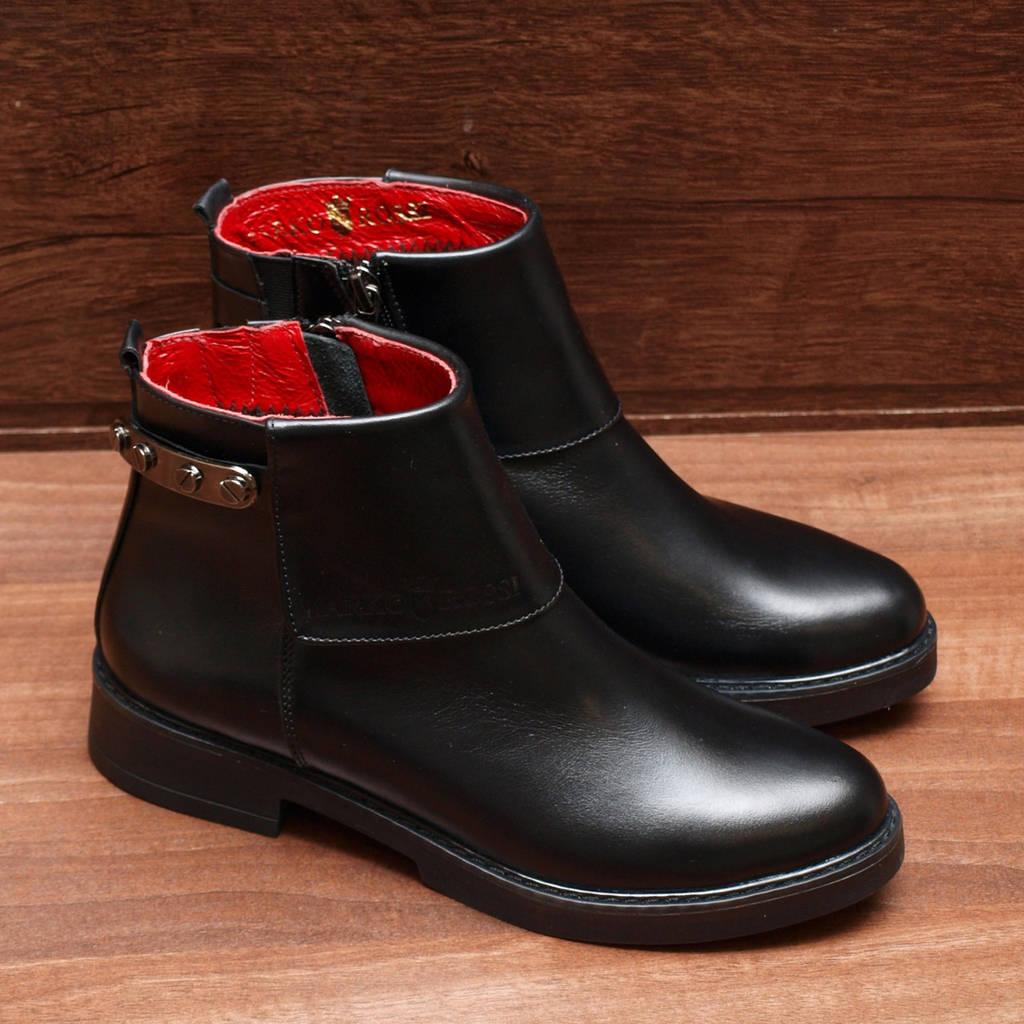 Ботинки женские демисезонные кожаные черные 36-40
