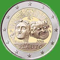 Италия 2 евро 2016 г. 2200 лет со дня смерти Тита Макция Плавта . UNC