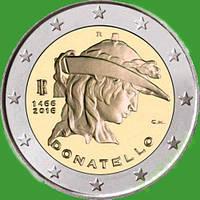Италия 2 евро 2016 г. 550 лет со дня смерти Донателло . UNC