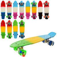 Скейт MS 0746 (6шт) пенни, 5-14,5см, алюм. подвеска, колесаПУ,3 цвет, радуга, разобр, в кульке,