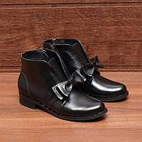 Женские ботинки (8002.1) 36, 37, 38, 39, 40 - демисезонные кожаные черные на низком каблуке