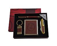 Подарочный набор 4 в 1 Портсигар, нож, ручка, брелок кожа Украина YJ 6420