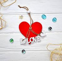 Деревянная подвеска-гирлянда, сердце 11 см