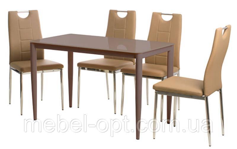 стол обеденный прямоугольный т 300 11 металлический каркас цвета кофе мокко каленое стекло 110х60х75
