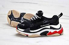 Женские кроссовки в стиле Balenciaga Triple S Trainers Black/White/Red, фото 2