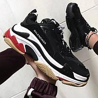 Женские кроссовки в стиле Balenciaga Triple S Trainers Black/White/Red