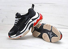 Женские кроссовки в стиле Balenciaga Triple S Trainers Black/White/Red, фото 3